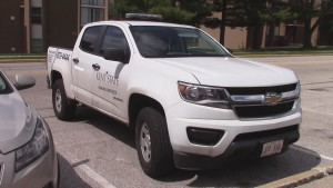 One of the new Parking Services 2015 Chevy Colorados is seen at Kent State University Monday, April 13, 2014