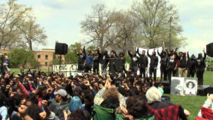 Black United Students stand in solidarity with May 4th keynote speaker, Samaria Rice.